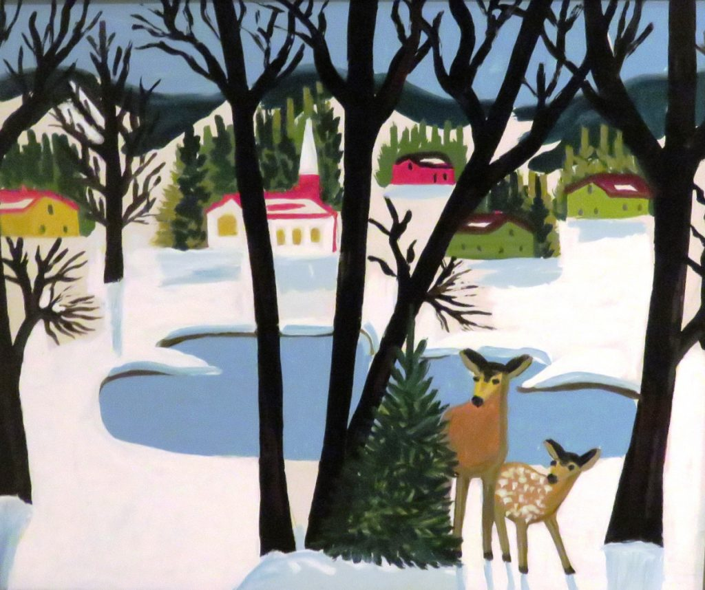 Maud Lewis Deer and Village in Winter, 1960s