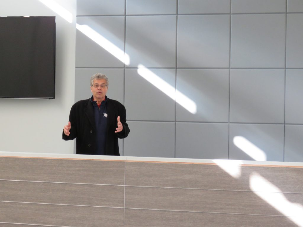 Randy Fernandez showing off the new Joseph S. Johns Council Chambers in early November.