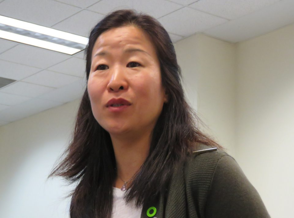 Junko Usuba discussing the climate crisis at the St. Clair County Building on Nov. 21.