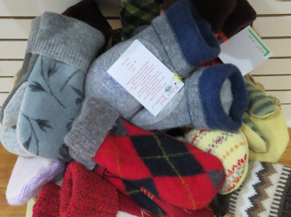 Colorful woolen mittens make fine stocking stuffers.