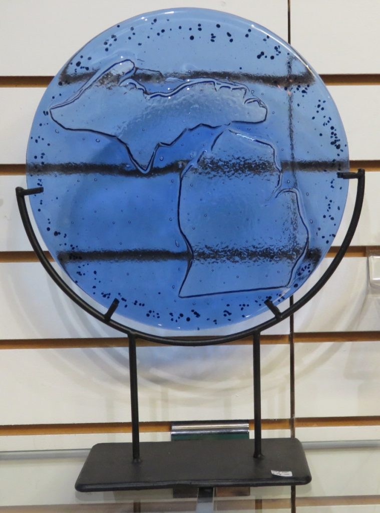 A decorative blue-glass version of Michigan is $74.