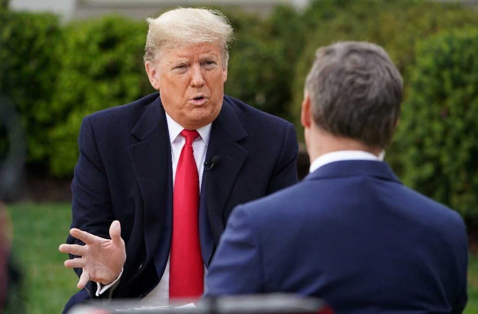 US President Donald Trump (L) speaks with anchor Bill Hemmer during a Fox News virtual town hall meeting from the Rose Garden of the White House in Washington, DC, on March 24, 2020 - MANDEL NGAN / ©AFP
