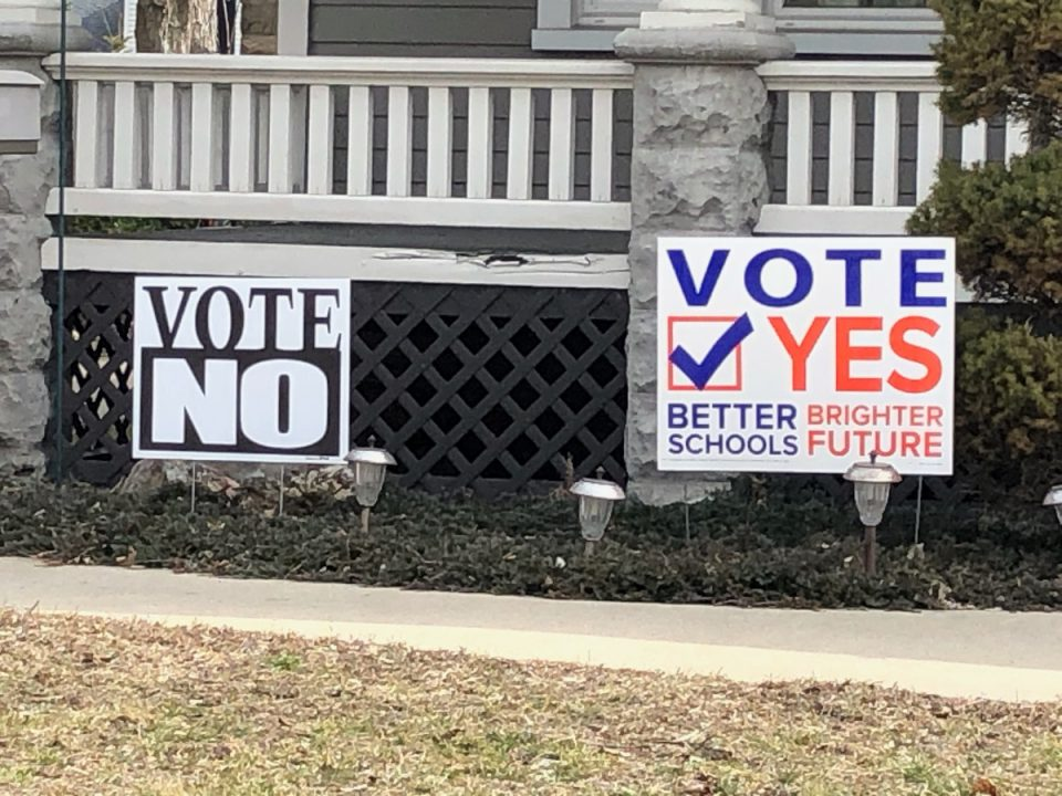 A house in St. Clair sported signs for and against the ECSD bond proposal.