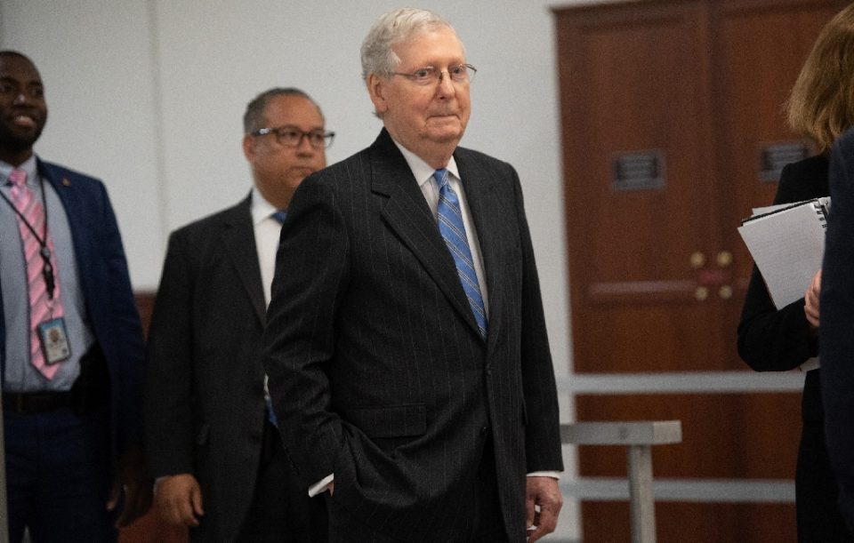 US Senate Majority Leader Mitch McConnell steered a $100 billion coronavirus relief package through the Senate on March 18, 2020, but Congress was also negotiating additional measures to address the crisis that has roiled the US economy - SAUL LOEB / ©AFP