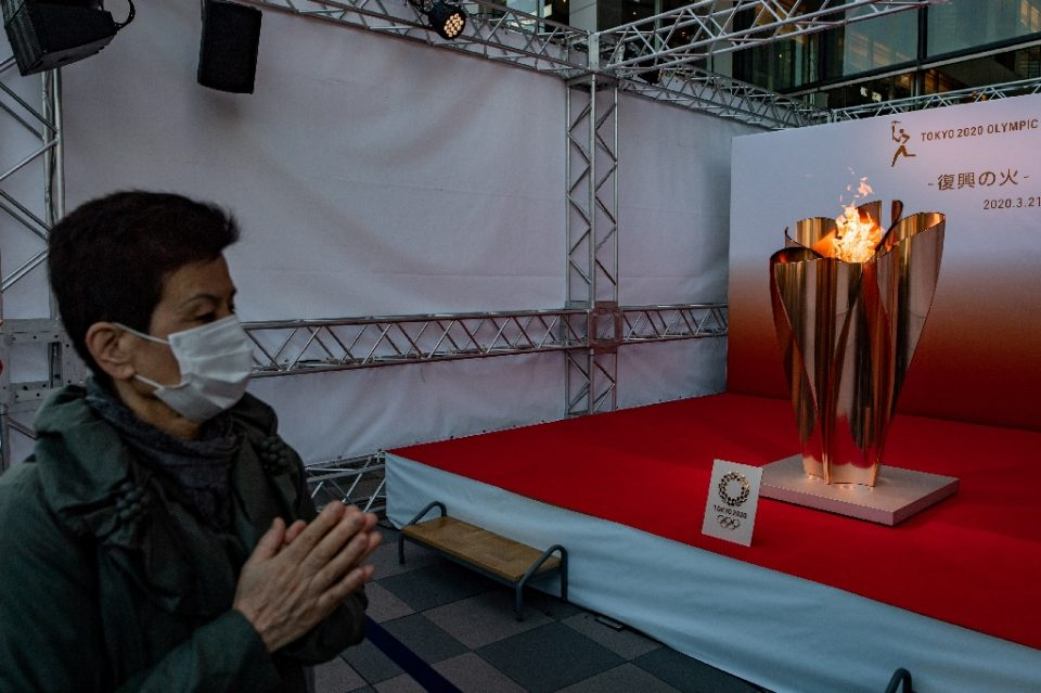 The Olympic flame is to beging touring Japan but calls are growing louder for the Tokyo Games to be delayed due to the coronavirus pandemic - Philip FONG / ©AFP
