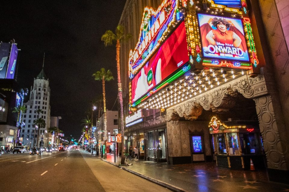 In this file photo taken on March 15, 2020, the El Capitan Theatre, a main Hollywood tourist attraction, is seen in Hollywood, California - Apu GOMES / ©AFP