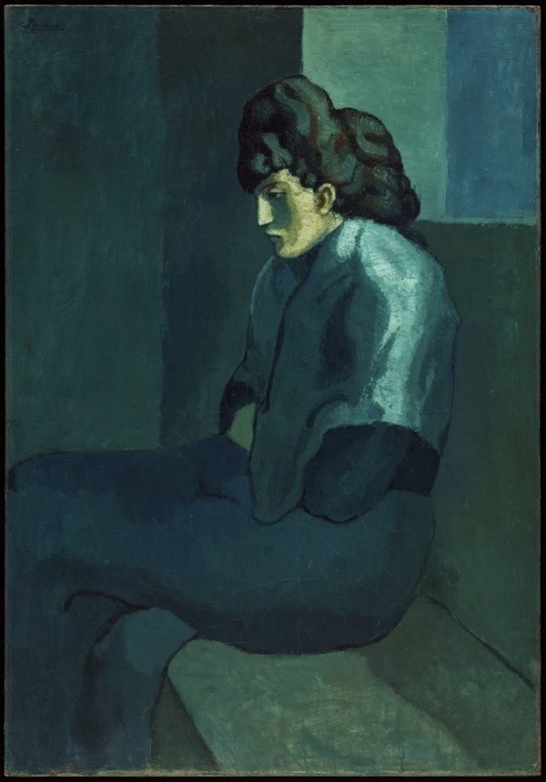 """Picasso's 1902 oil, """"Melancholy Woman."""" Photo courtesy of the Detroit Institute of Art."""
