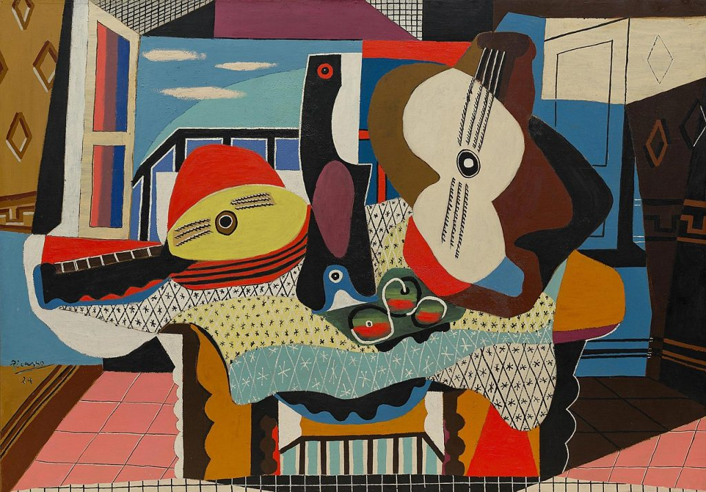 """Picasso's big painting """"Mandolin and Guitar"""" in the Guggenheim Museum. Photo courtesy of the Guggenheim Museum."""