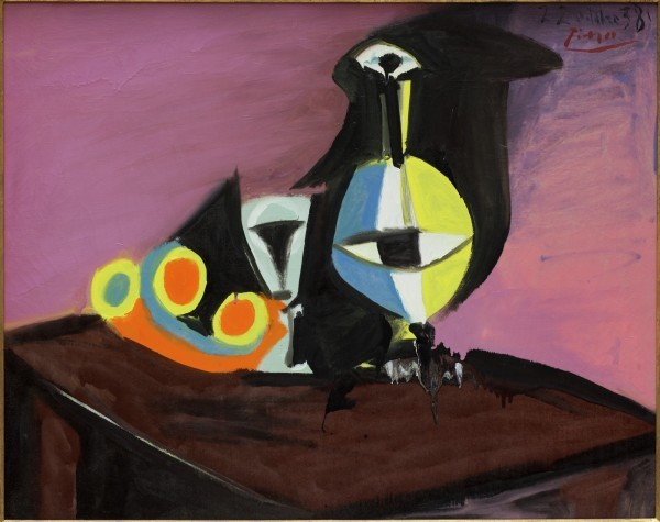 """Picasso's 1938 canvas, """"Fruit, Carafe and Glass."""" Photo courtesy of the Detroit Institute of Art."""