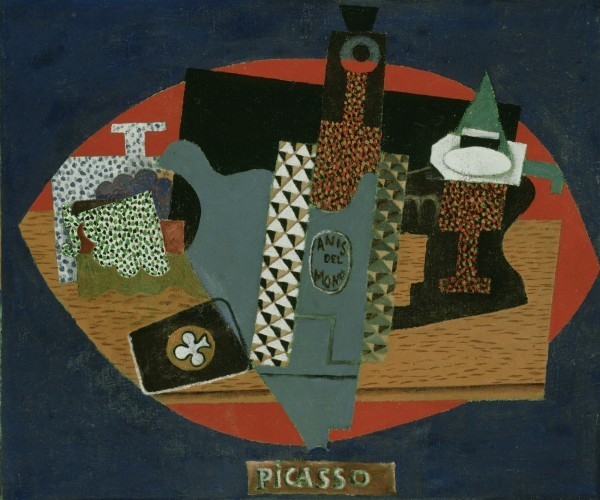 """Picasso's 1915 oil on canvas, """"Bottle of Anis del Mono."""" Photo courtesy of the Detroit Institute of Art."""