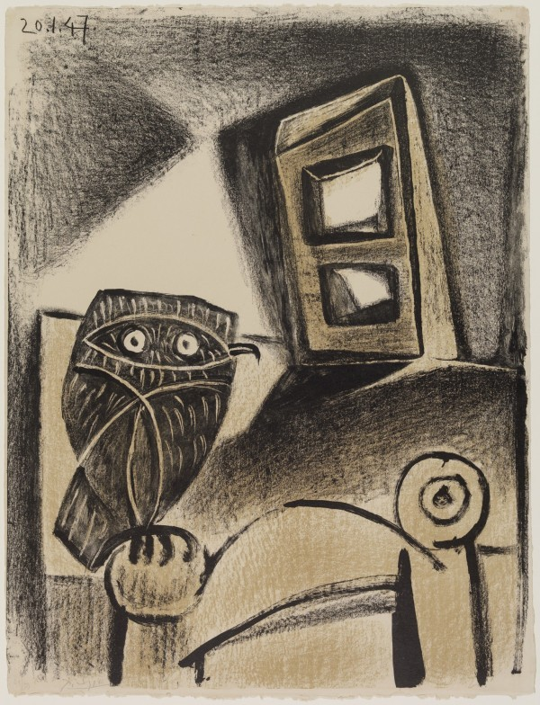 """The artist's 1947 lithograph """"Owl with a Chair."""" Photo courtesy of the Detroit Institute of Art."""