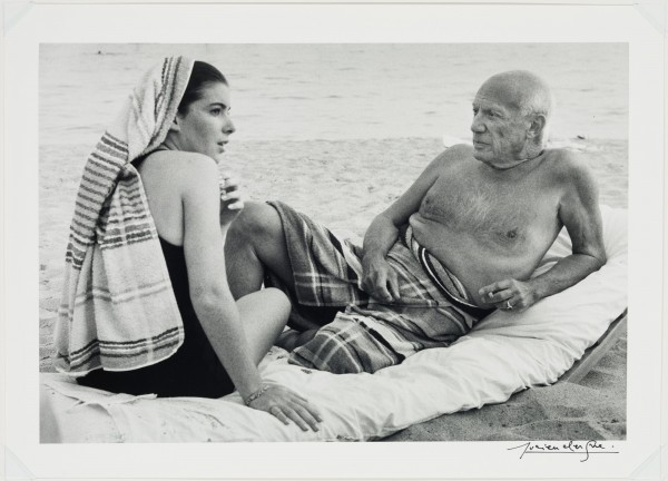 """The 1965 photograph by Lucien Clergue, """"Picasso at the Beach, Cannes."""" Photo courtesy of the Detroit Institute of Art."""
