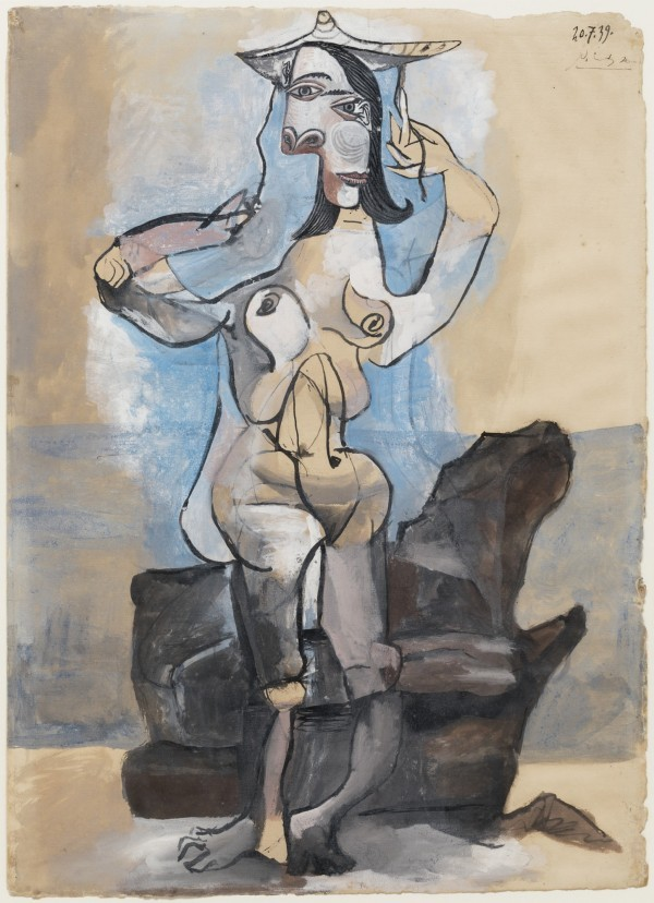 """""""Bather by the Sea,"""" the artist's 1939 gouache on paper. Photo courtesy of the Detroit Institute of Art."""