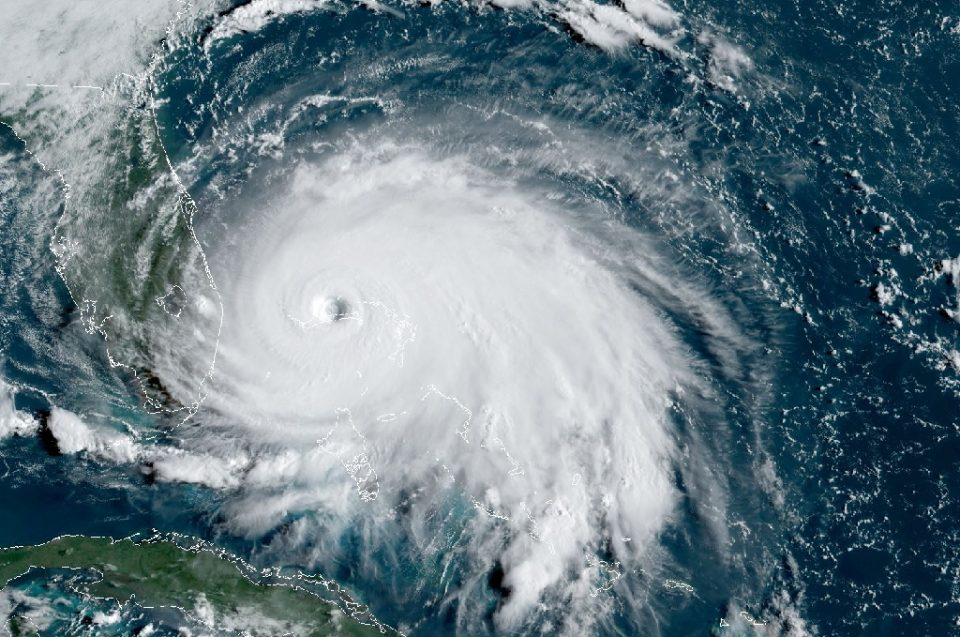 """""""A satellite image from September 2019 of Tropical Storm Dorian. US forecasters predict an 'above normal' 2020 Atlantic hurricane season - Andrew CABALLERO-REYNOLDS / ©AFP"""""""