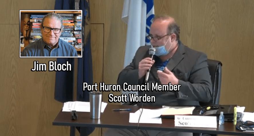 A screenshot of Port Huron City Council member Scott Worden talking about the possibility of allowing the recreational sales of marijuana in the city.