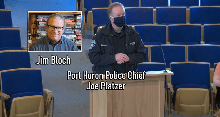 A screenshot of Port Huron Police Chief Joe Platzer addressing the city council earlier this spring.