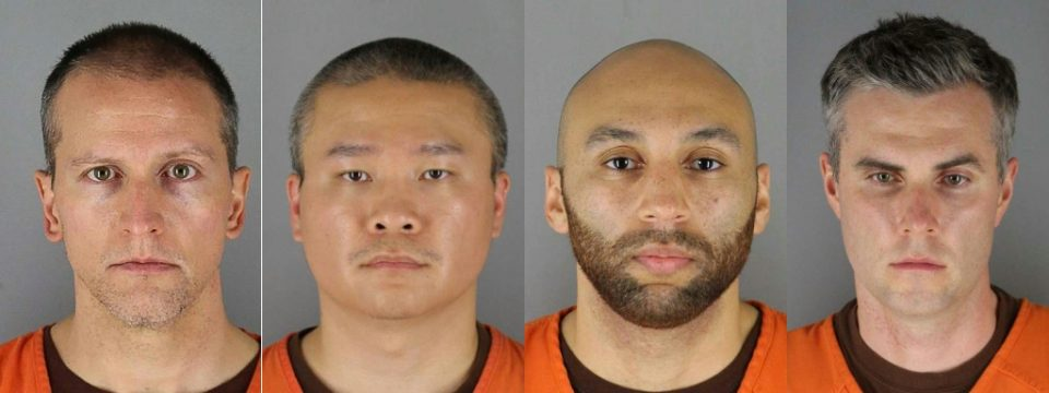 Released June 4, 2020, a montage of the men accused of involvement in the murder of George Floyd: Derek Chauvin, Tou Thao, Alexander Kueng and Thomas Lane - Handout / ©AFP