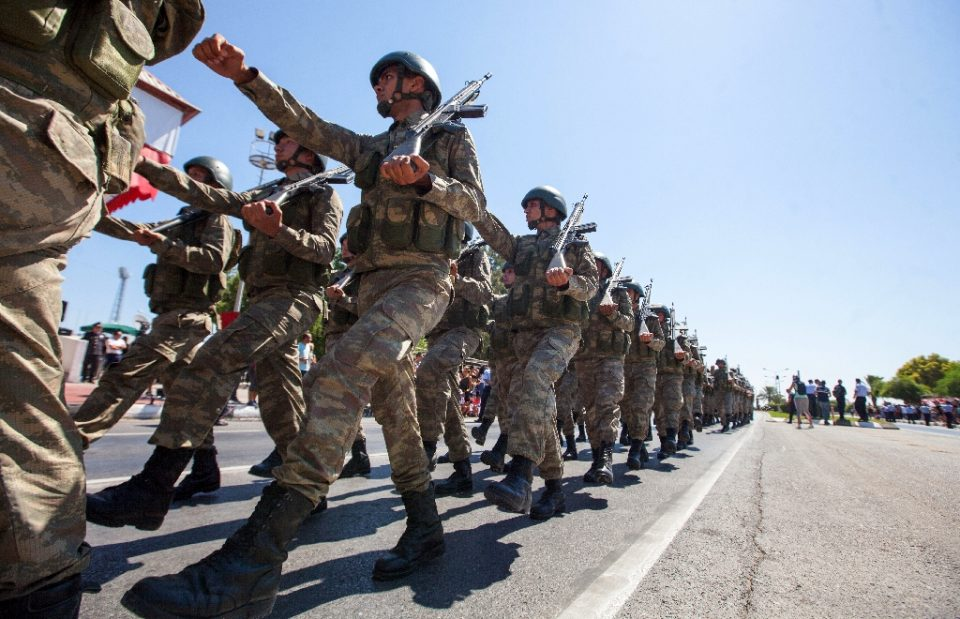 Turkish troops parade in July 2019 in the northern part of Nicosia in Cyprus, where the United States plans to start military training of the Republic of Cyprus forces (AFP Photo/Birol BEBEK)