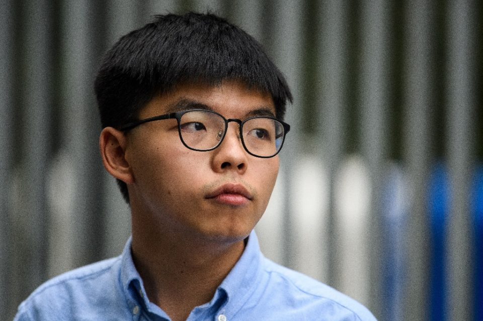 Joshua Wong, a prominent Hong Kong democracy campaigner was among those disqualified from running for upcoming elections (AFP Photo/Anthony WALLACE)