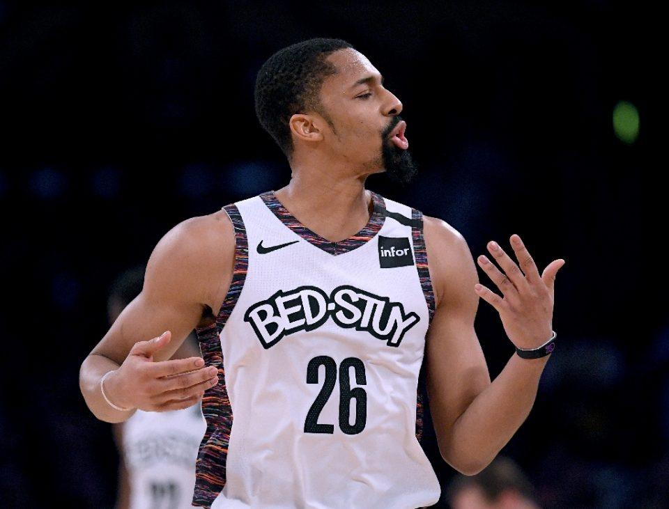 Brooklyn Nets guard Spencer Dinwiddie said Tuesday he will not join the team in Orlando to resume the NBA season after testing positive for a second time for COVID-19 on Monday (AFP Photo/Harry How)