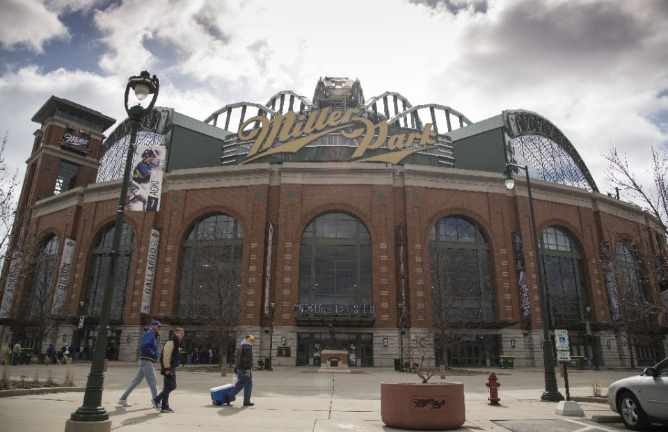 Miller Park was to be the site of the Milwaukee Brewers' MLB home opener Friday (AFP Photo/Tom Lynn)