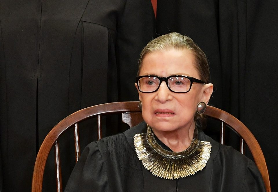"""Ruth Bader Ginsburg, pictured in November 2018, was hospitalized in July 2020 to """"revise a bile duct stent"""" (AFP Photo/MANDEL NGAN)"""