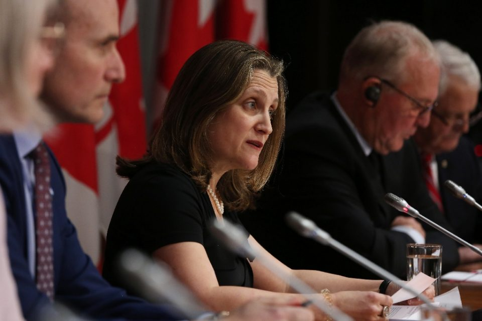 Prime Minister Justin Trudeau named Chrystia Freeland as Canada's first female finance minister in a mini-cabinet shuffle - Dave Chan / ©AFP