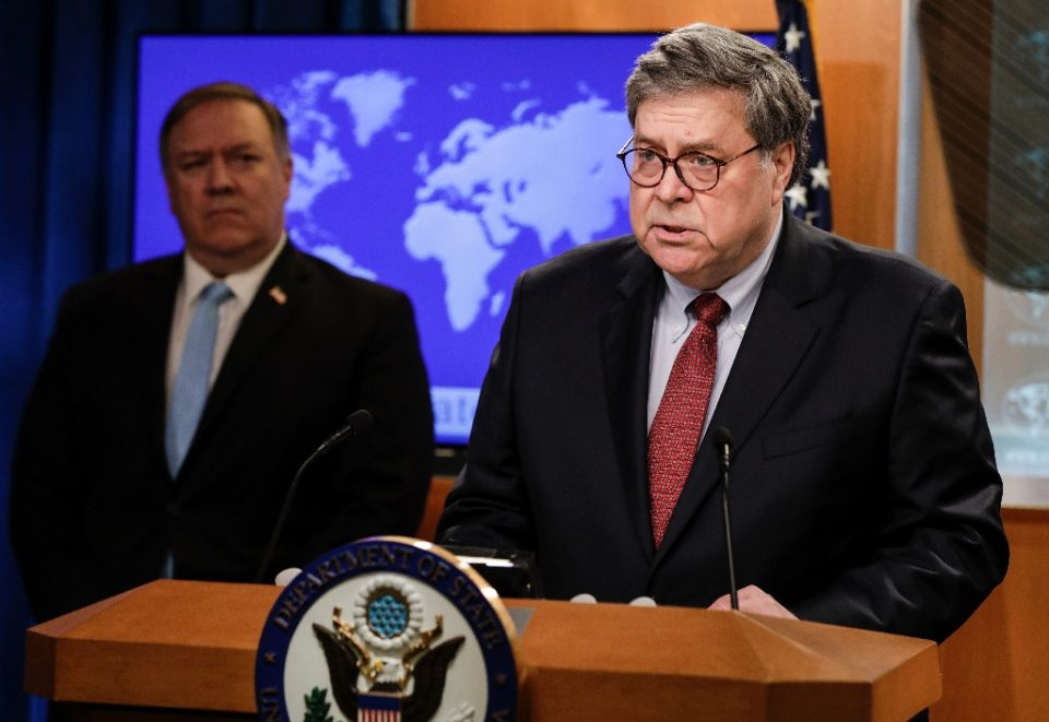 US President Donald Trump has criticized both Secretary of State Mike Pompeo (left) and Attorney General William Barr, who are seen here speaking at the State Department in June 2020 - Yuri Gripas / ©AFP