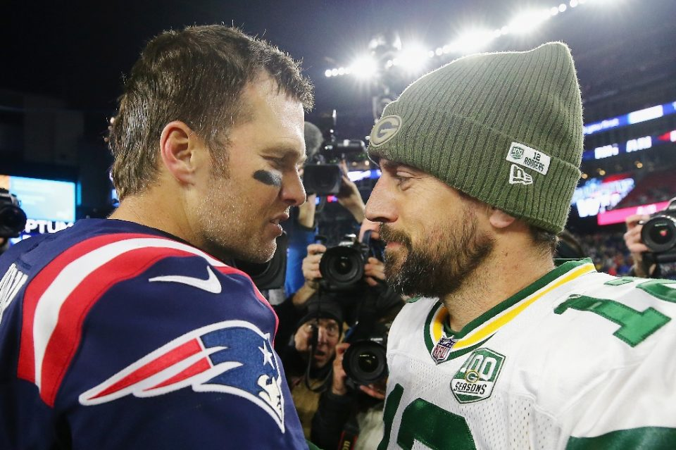 Green Bay quarterback Aaron Rodgers, right, will lead the unbeaten Packers into Tampa Bay on Sunday for a rare NFL matchup against six-time Super Bowl champion signal caller Tom Brady, left, and the Buccaneers - Maddie Meyer / ©AFP