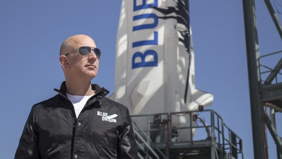 Jeff Bezos, founder of Blue Origin, at New Shepard's West Texas launch facility - HO / ©AFP