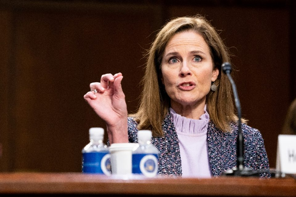 President Donald Trump's Supreme Court nominee Judge Amy Coney Barrett testifies before the Senate Judiciary Committeee in her confirmation hearings - Anna Moneymaker / ©AFP