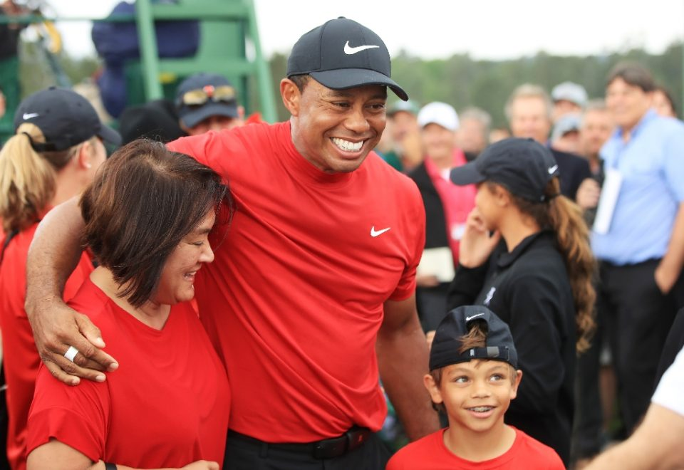 Tiger Woods celebrates his 2019 Masters victory with son Charlie Axel - Andrew Redington / ©AFP