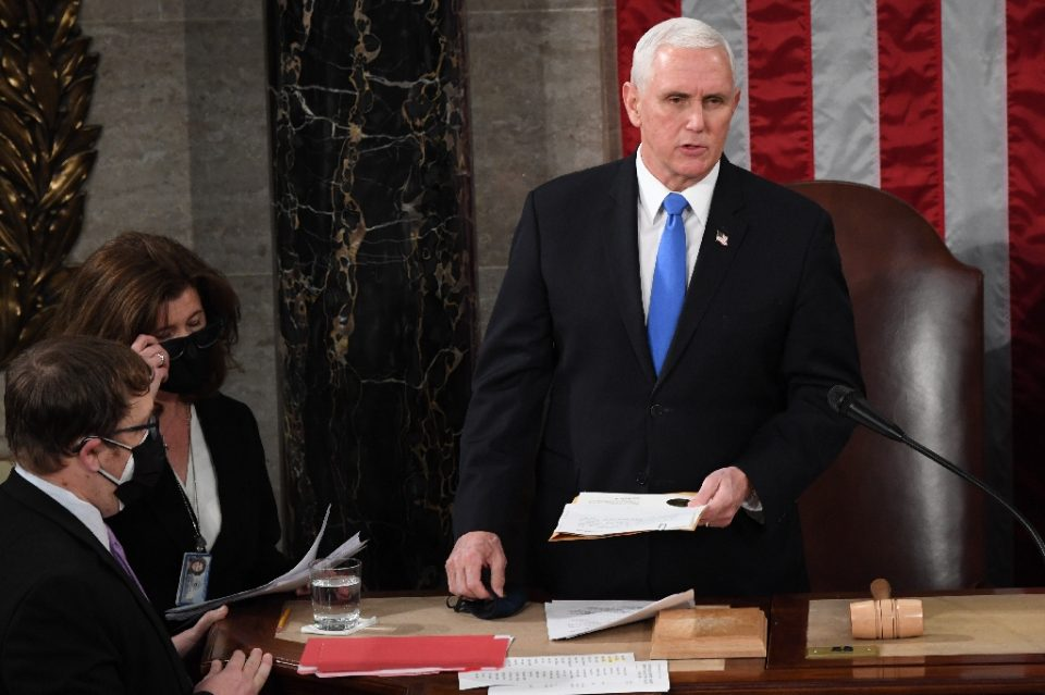 US Vice President Mike Pence said he will not intervene to stop the certification of Democrat Joe Biden's election victory - POOL / ©AFP