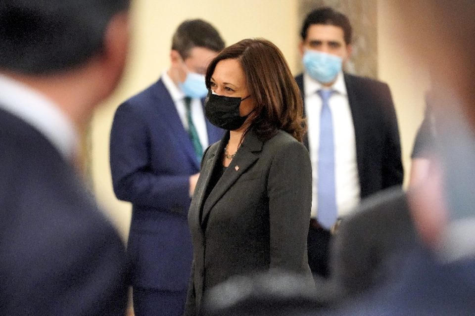 Vice President Kamala Harris cast the tie-breaking vote to make it 51-50 in the early morning showdown - Greg Nash / ©AFP